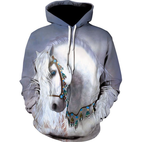 Sweat-shirt à capuche - Impression Cheval blanc