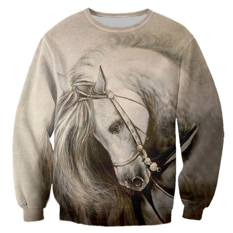 Sweat-shirt avec ou sans capuche - Impression Cheval rennes