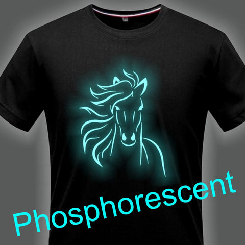 T-Shirt - Impression Cheval - Encre phosphorescente
