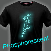 T-Shirt - Impression Cheval sport - Encre phosphorescente