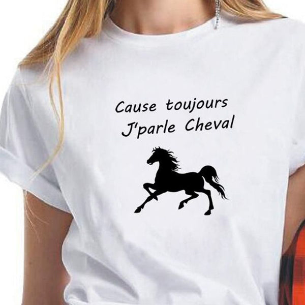 T-Shirt - Marquage humoristique Cause toujours j'parle cheval
