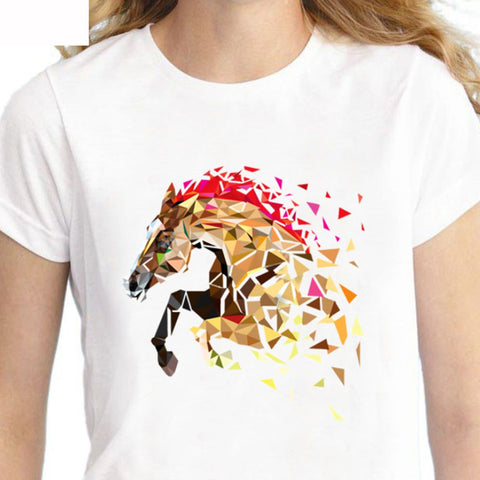 T-Shirt - impression cheval vitrail