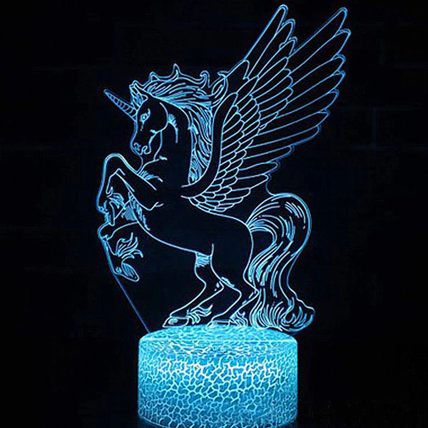 Veilleuse Cheval Grande Licorne 3D Laser led multicolore Option télécommande