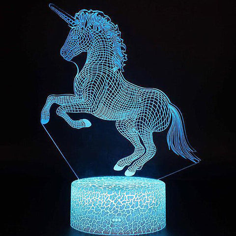 Veilleuse Cheval Licorne debout 3D Laser led multicolore Option télécommande