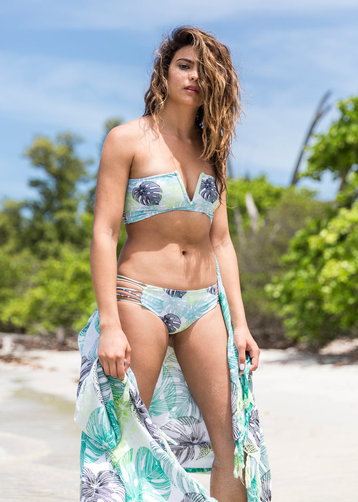 NIRVANIC SWIM:2018 ZARA TOP-EXTRA SMALL / MONSTERA TROPIC
