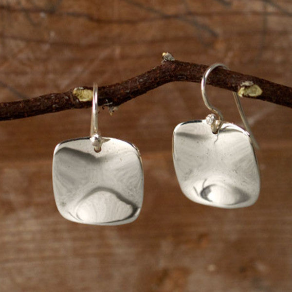 Wave Silver Earrings SQ - French Wire - Handmade Silver Jewelry San Francisco Wholesale