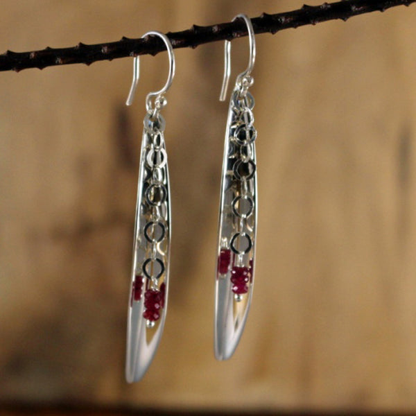 Pod with Raw Ruby Silver Earrings - French Wire