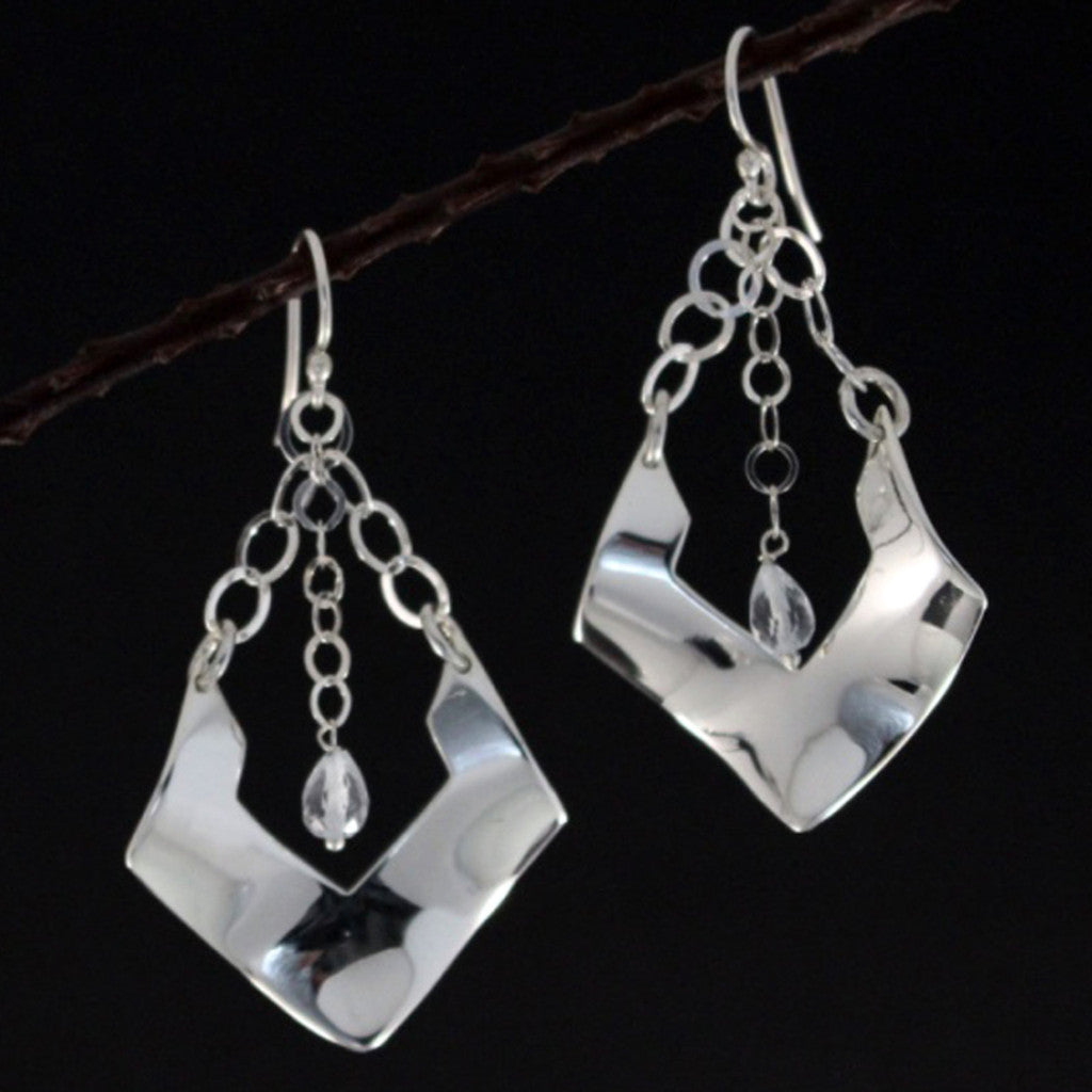 Greta Silver Earrings with Faceted Aquamarine - French Wire