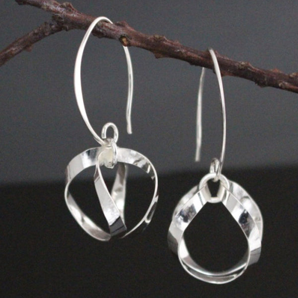 Large Dew Drops Earrings - High Polished Silver - Marquise Ear Wire