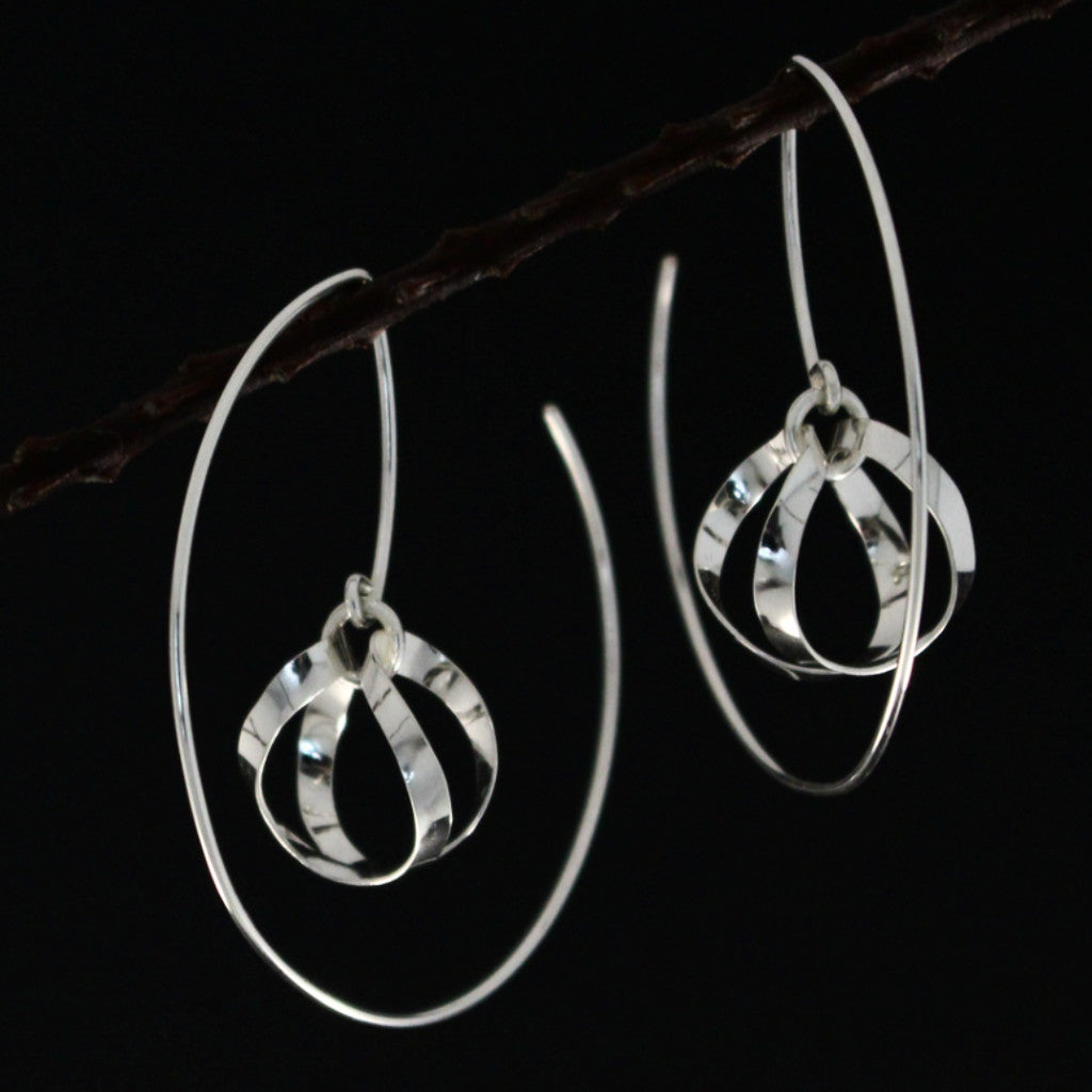 Dew Drops Silver Earrings - High Polished Silver - Hoop