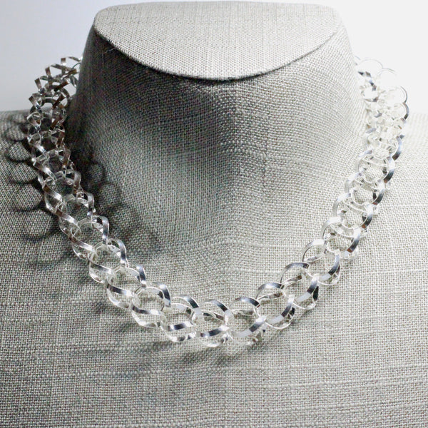 Medium Dew Drops Necklace - High Polished Silver - 16""