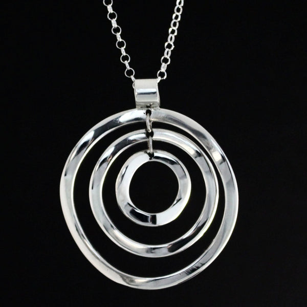 Rippled Multi Hoop Pendant - High Polished Silver