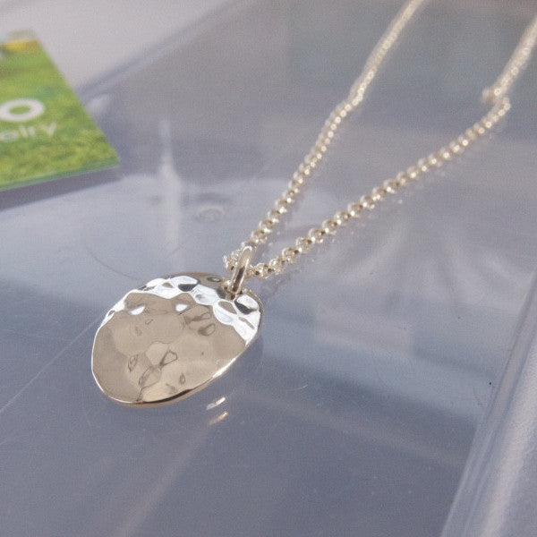 Petite Oval Pendant - Hammered Silver - Pendant