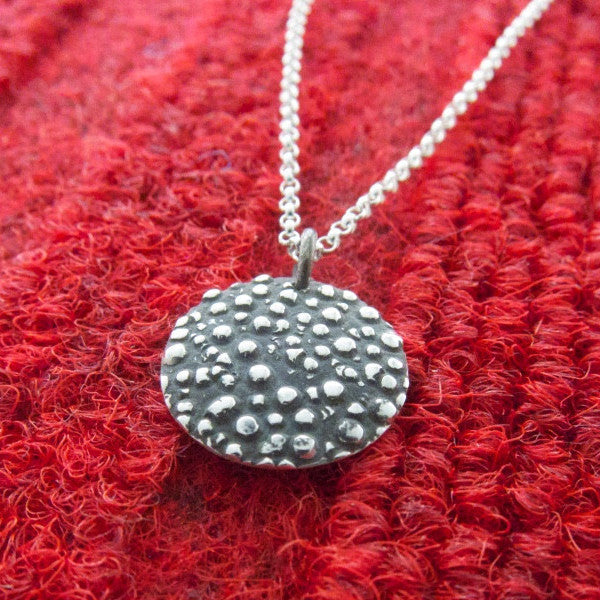 Small Firmament Disc Oxidized Silver Pendant - Handmade Silver Jewelry San Francisco Wholesale