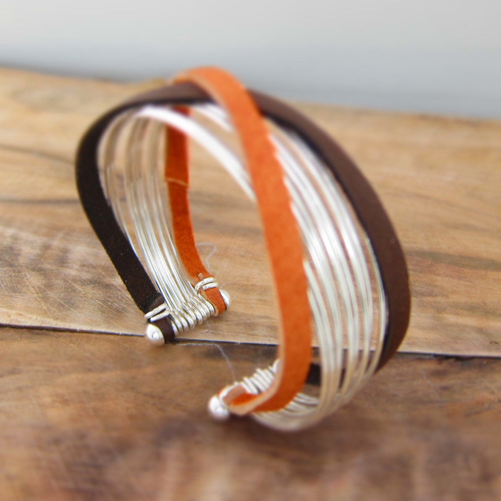 Multi-Silver Wire + Deer Skin Leather Cuff Bracelet - Handmade Silver Jewelry San Francisco Wholesale