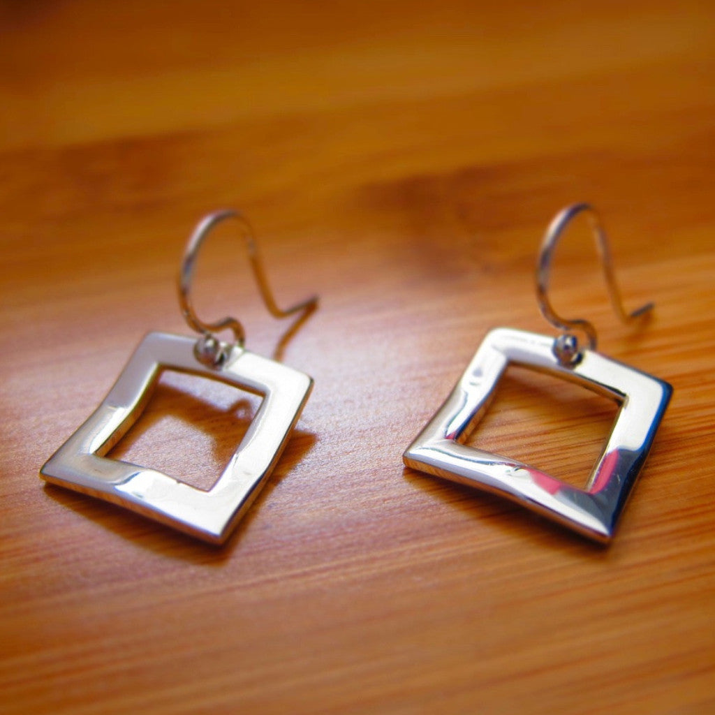 Inner Square Silver Earrings - French Wire - Handmade Silver Jewelry San Francisco Wholesale