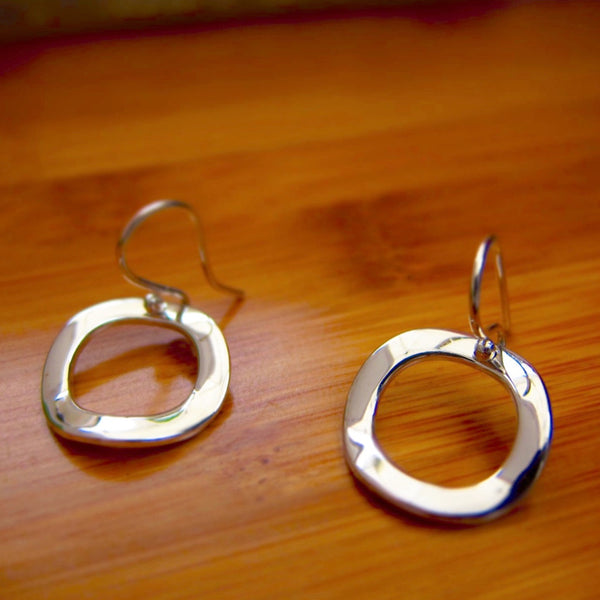 Inner Circle Silver Earrings - French Wire - Handmade Silver Jewelry San Francisco Wholesale