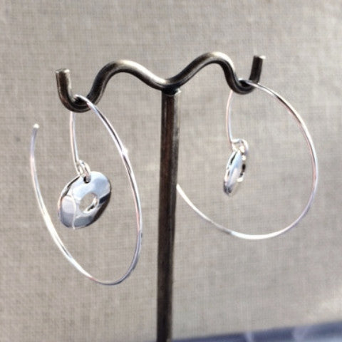 Off-Center Disc Hoop Earrings - Hammered Silver - Hoop Earrings