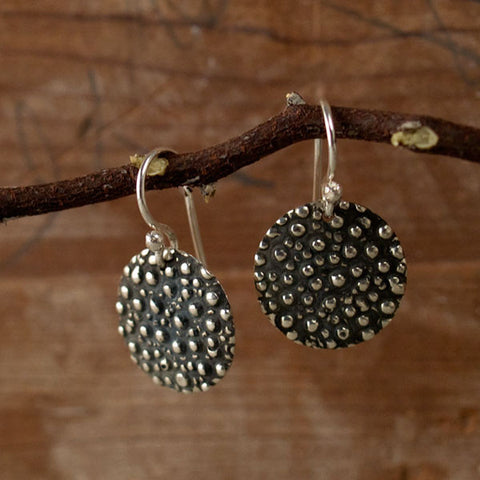 Firmament Disc Oxidized Silver Earrings - French Wire