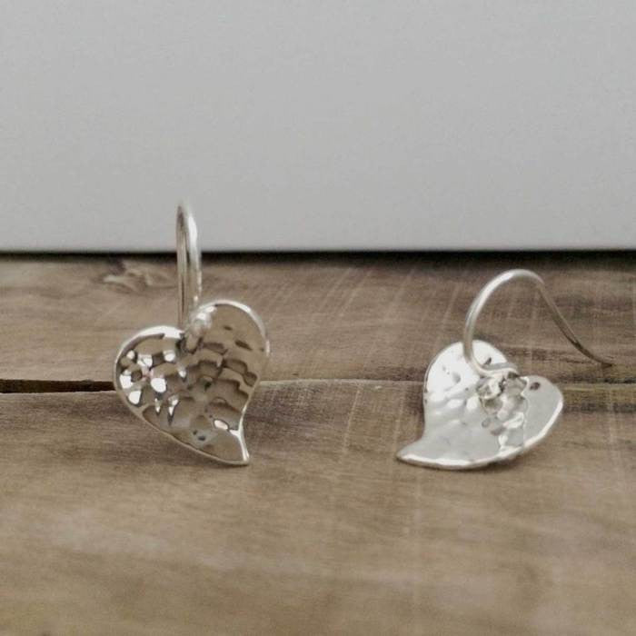 Petite Heart Silver Hammered Earrings - French Wire - Handmade Silver Jewelry San Francisco Wholesale
