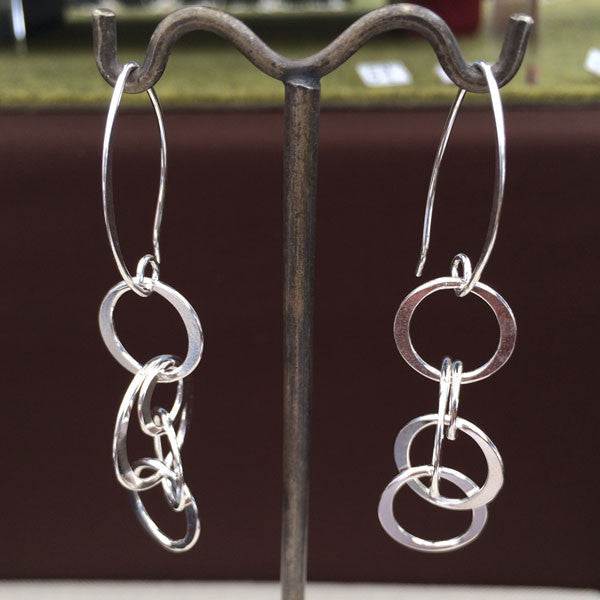 Multi-Ring Dangle Silver Earrings - Marquise Ear Wire - Handmade Silver Jewelry San Francisco Wholesale