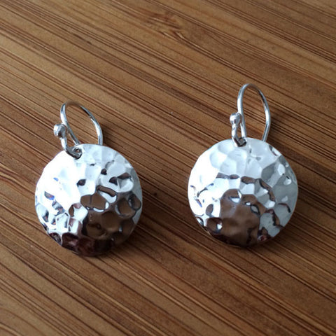 Disc Concave Hammered Silver Earrings - French Wire