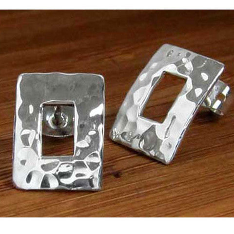 Petite Off-Center Rectangle Hammered Silver Earrings - Post
