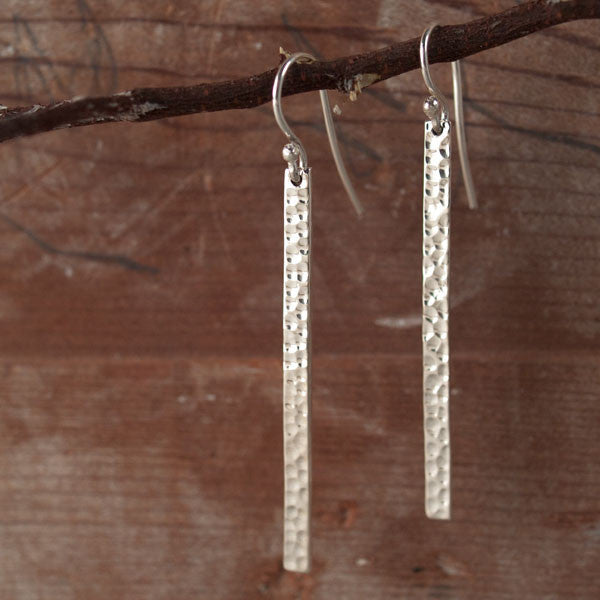 Slab Hammered Silver Earrings - French Wire - Handmade Silver Jewelry San Francisco Wholesale