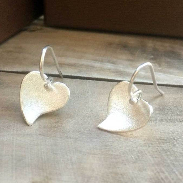 Petite Heart Matte Silver Earrings - French Wire - Handmade Silver Jewelry San Francisco Wholesale