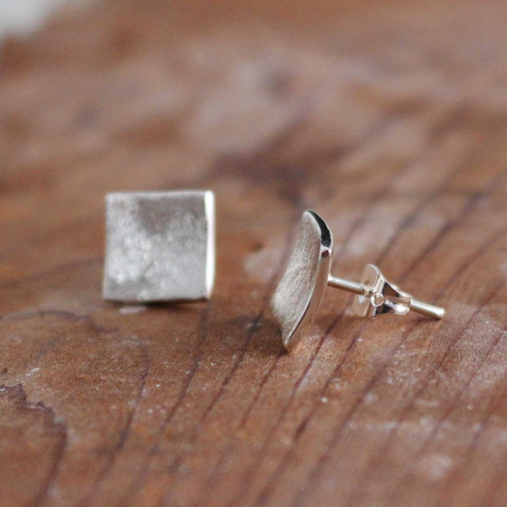 Petite Dapped Square Matte Silver Earrings - Post - Handmade Silver Jewelry San Francisco Wholesale