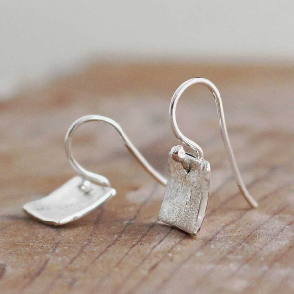 Petite Dapped Square Matte Silver Earrings - French Wire - Handmade Silver Jewelry San Francisco Wholesale