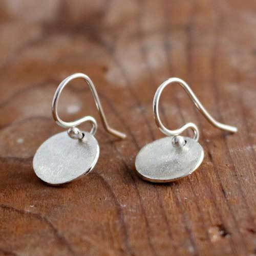 Petite Dapped Disc Matte Silver Earrings - French Wire - Handmade Silver Jewelry San Francisco Wholesale