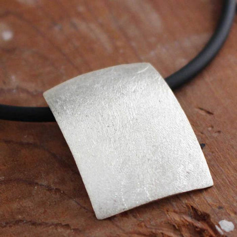 Rectangle Concave Matte Silver Pendant