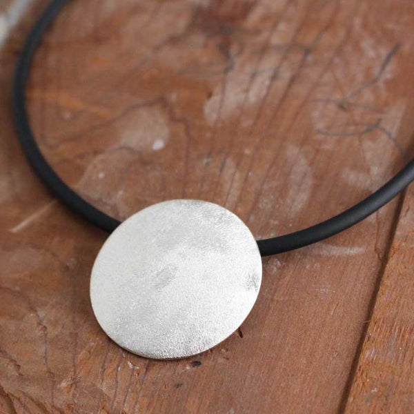 Disc Concave Matte Silver Pendant - Handmade Silver Jewelry San Francisco Wholesale