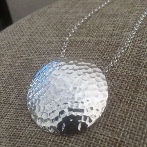 Disc Concave Hammered Silver Pendant - Handmade Silver Jewelry San Francisco Wholesale