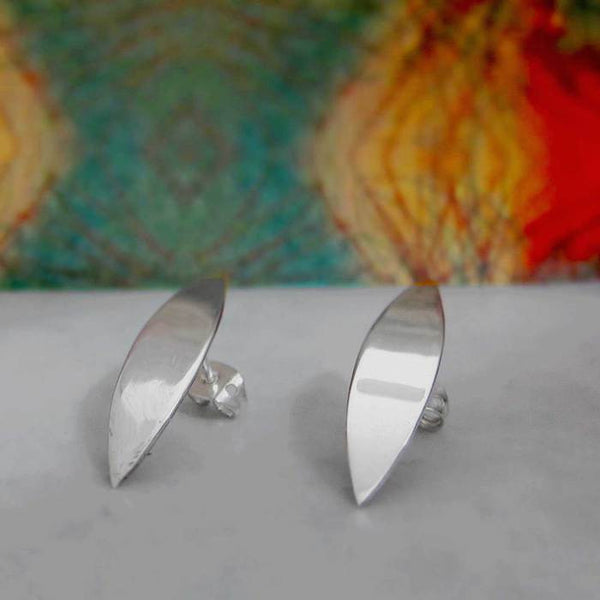 Small Margarita Petal Silver Earrings - Post - Handmade Silver Jewelry San Francisco Wholesale