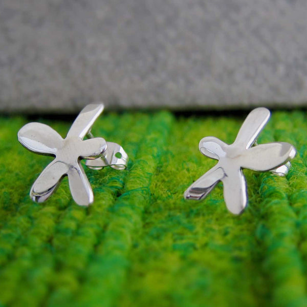 Petite Happy Daisy Silver Earrings - Post - Handmade Silver Jewelry San Francisco Wholesale