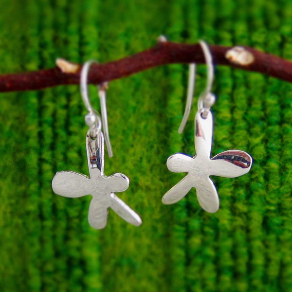 Petite Happy Daisy Silver Earrings - French Wire - Handmade Silver Jewelry San Francisco Wholesale