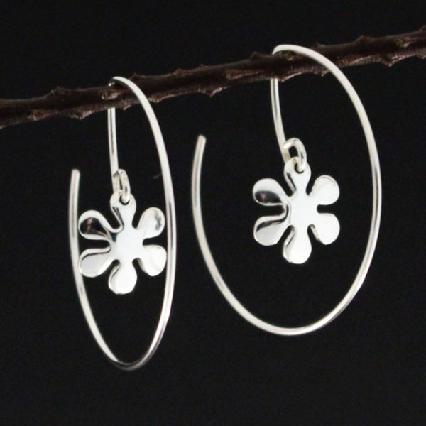 Flower Power Hoop Earrings - High Polished Silver - Hoop Earrings