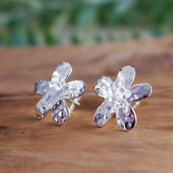 Daisy Hammered Silver Earrings - Post - Handmade Silver Jewelry San Francisco Wholesale