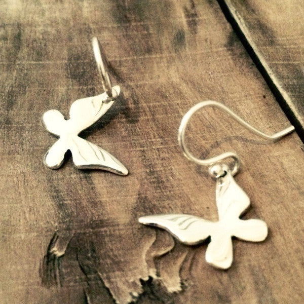 Petite Queen Butterfly Silver Earrings - French Wire - Handmade Silver Jewelry San Francisco Wholesale