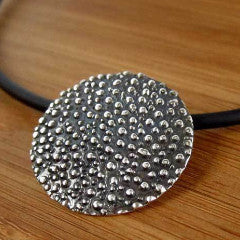 Concave Disc Dotted Oxidized Silver Pendant - Handmade Silver Jewelry San Francisco Wholesale