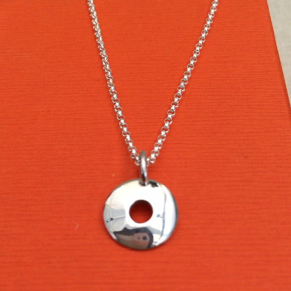 Petite Off-Center Disc Silver Pendant - Pendant