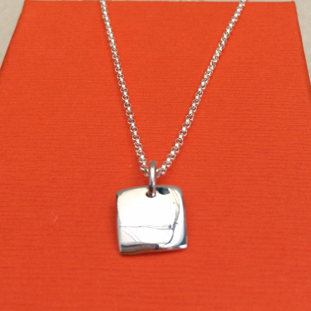Petite Concave Square Pendant - High Polished Silver - Pendant