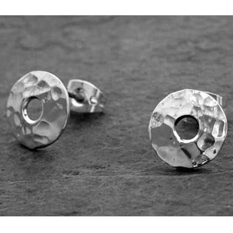 Petite Off-Center Disc Hammered Silver Earrings - Post