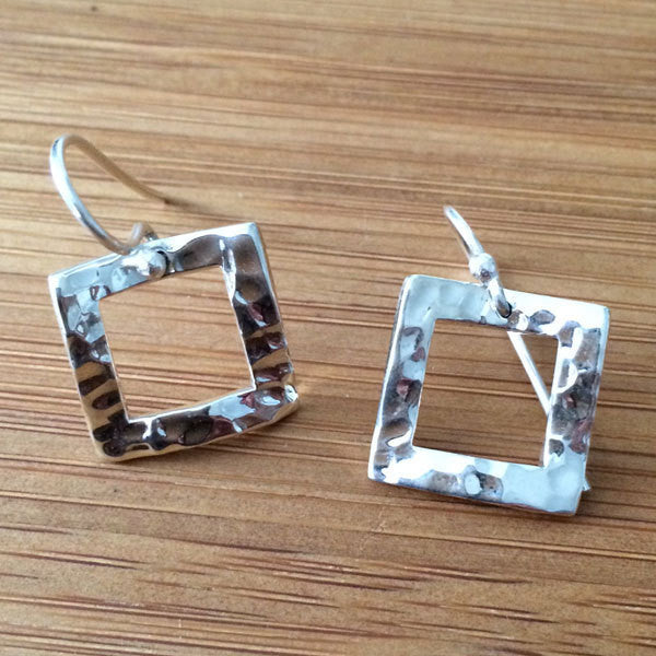 Inner Square Hammered Silver Earrings - French Wire - Handmade Silver Jewelry San Francisco Wholesale
