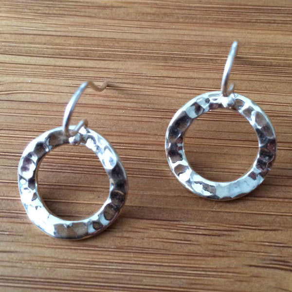 Inner Circle Hammered Silver Earrings - French Wire - Handmade Silver Jewelry San Francisco Wholesale