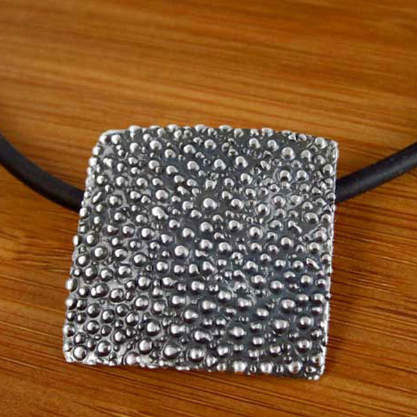 Square Dotted Oxidized Silver Pendant - Handmade Silver Jewelry San Francisco Wholesale