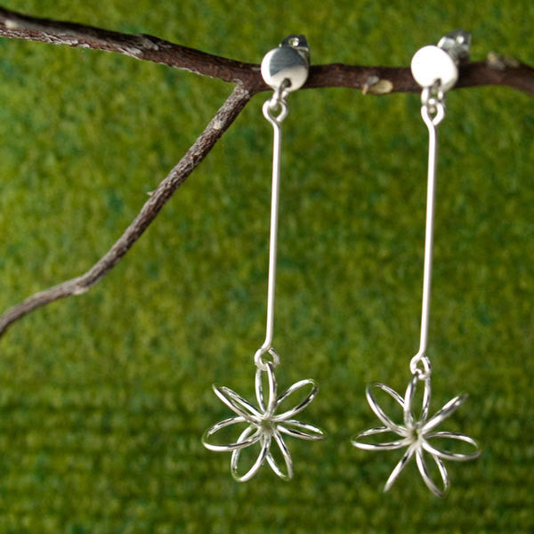 Petite Floating Flower Silver Earrings - Dangling Post - Handmade Silver Jewelry San Francisco Wholesale