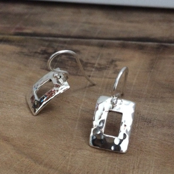 Petite Off-Center Rectangle Hammered Silver Earrings - French Wire - Handmade Silver Jewelry San Francisco Wholesale